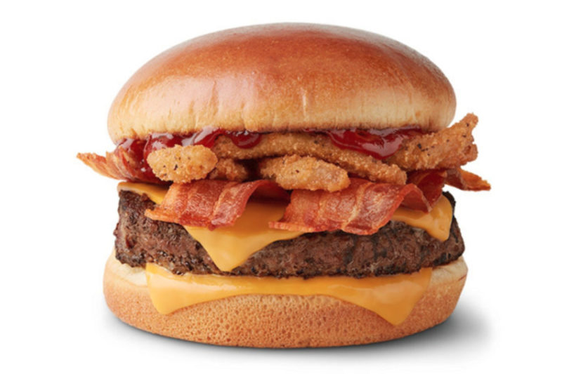 New from McDonald's is the Bacon BBQ Burger, made with a quarter-lb 100% beef patty topped with applewood smoked bacon, bourbon barbecue sauce and crispy fried onion strings all served on an artisan roll.