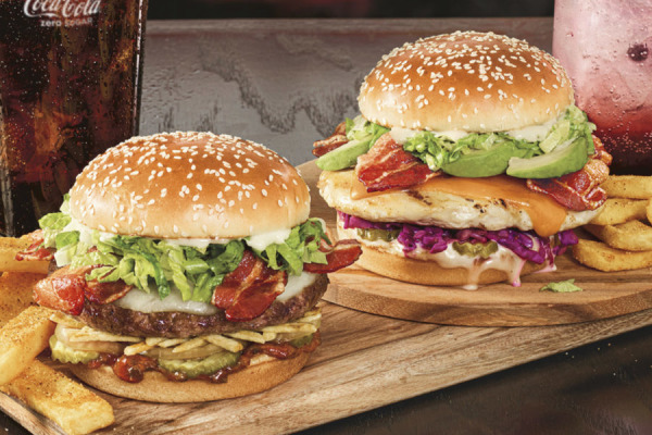 Red Robin Bacon Curry Burger and Zen Chicken Burger