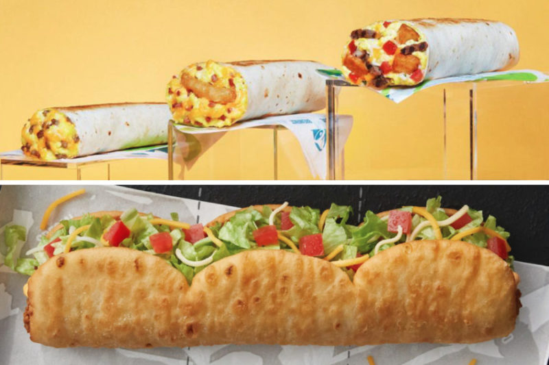 """Taco Bell is beefing up its breakfast menu with the launch of Toasted Breakfast Burritos and innovating with its chalupa offerings by introducing the Triplelupa.  The Toasted Breakfast Burritos come in three varieties: Cheesy, made with eggs, nacho cheese sauce and sausage; Grande, featuring a double serving of scrambled eggs, three-cheese blend, potato bites, pico de gallo and a choice of bacon or sausage; and Hash Brown, including a choice of bacon or sausage, eggs, three-cheese blend and hash brown.  Taco Bell's new Triplelupa combines three mini chalupas and includes double the seasoned beef of a regular chalupa to create """"the longest shell in Taco Bell history,"""" the company said. The offering is also the brand's first tear-apart menu item. The Triplelupa features a Nacho Cheese chalupa, Cheesy Chipotle chalupa and Chipotle chalupa in one."""