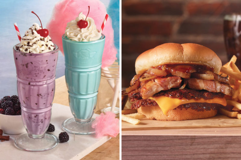 A new burger and two new milkshakes are joining the Steak 'n Shake menu.  The Pork Belly Steakburger features a 100% beef double steakburger topped with glazed thick-cut pork belly, caramelized onions, American cheese and a savory maple bourbon sauce.  The Black Raspberry Chocolate Chip Milkshake is blended with black raspberry syrup and chocolate chips and is topped with whipped cream, chocolate chips and a cherry.  The Cotton Candy Milkshake features a sweet cotton candy flavor and is topped with whipped cream and a cherry.