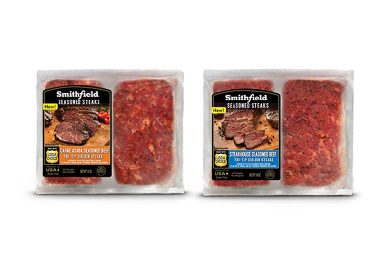 Smithfield Seasoned is now more than pork. Smithfield is expanding its portfolio with grill-ready fresh steak products. Sold in refrigerated 14-oz. packages containing two USDA Choice Beef steaks, these quality cuts are perfectly seasoned for a hassle-free grilling experience. The initial offerings are Carne Asada and Steakhouse Seasoned. The beef joins an extensive line of seasoned and marinated pork chops, filets, loins and spareribs.