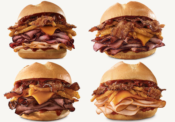 Arby's is adding four new sandwiches to its menu, all featuring a new barrel-aged Kentucky bourbon barbecue sauce. The Bourbon BBQ Brisket Sandwich features brown sugar bacon, Kentucky bourbon barbecue sauce, crispy onions, smoked cheddar cheese and smoked brisket on a star-cut bun. The Bourbon BBQ Steak Sandwich features Angus steak, brown sugar bacon, Kentucky bourbon barbecue sauce, crispy onions and smoked cheddar cheese on a star-cut bun. The Bourbon BBQ Triple Stack Sandwich features Kentucky bourbon barbecue sauce, brown sugar bacon, crispy onions, smoked cheddar cheese, Angus steak, smoked brisket and roast turkey on a star-cut bun. The Bourbon BBQ Turkey Sandwich features brown sugar bacon, Kentucky bourbon barbecue sauce, crispy onions, roast turkey and smoked cheddar cheese on a star-cut bun.