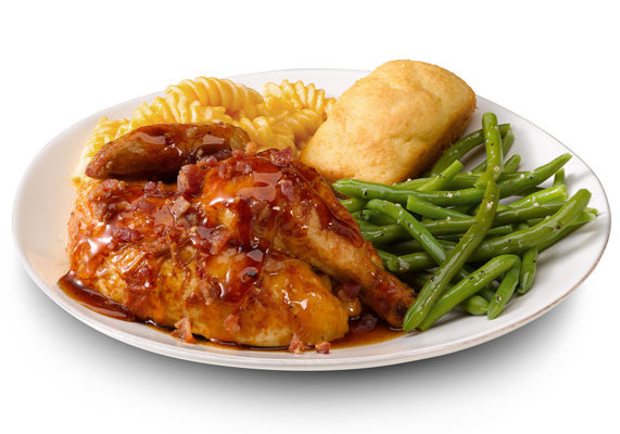 The Bourbon Bacon Rotisserie Chicken meal by Boston market is available in half chicken, quarter white or three-piece dark meat. The meal is then topped with sweet bourbon sauce and crisp bacon pieces.