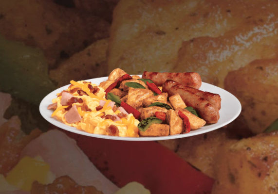 Jack in the Box is adding a new item to its Brunchfast menu. The Country Scrambler Plate features three Jimmy Dean sausage links, homestyle potatoes with grilled bell peppers and scrambled eggs mixed with bacon, ham and cheese.