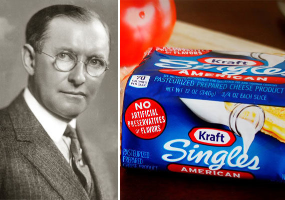 """In 1916, company founder James Lewis Kraft received a patent for making processed cheese, which involved continuously whisking cheddar heated at 175 degrees for 10 to 15 minutes. """"This invention relates to an improved process of sterilizing cheese to render it permanently keeping, and to the product thereby produced,"""" Mr. Kraft wrote in his patent, """"Process of Sterilizing Cheese and an Improved Product Produced by Such Process."""" Individually wrapped Kraft Singles came much later — in 1965."""