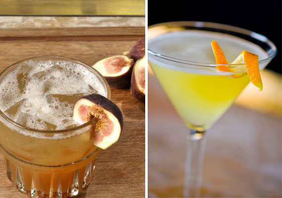Creative, handcrafted beverages are a focus at Del Frisco's, whose cocktails include the Scottish Fig (left), made with whiskey, root liqueur & fig preserves; and the signature VIP, a clementine vodka martini infused with pineapple juice.