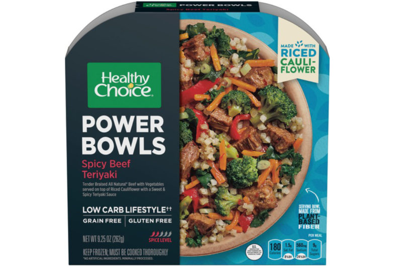 Conagra Brands Inc., Chicago, is extending its popular Healthy Choice Power Bowls line with new grain-free options. They are packed with nutrient-dense ingredients and made to fit a busy, low-carb lifestyle. The four varieties are made with leafy greens, colorful vegetables, lean proteins and riced cauliflower. They are: Spicy Beef Teriyaki, Basil Pesto Chicken, Spicy Black Bean & Chicken, and Chicken Marinara. Each bowl provides 18 to 20 grams of protein and 5 to 7 grams of fiber.