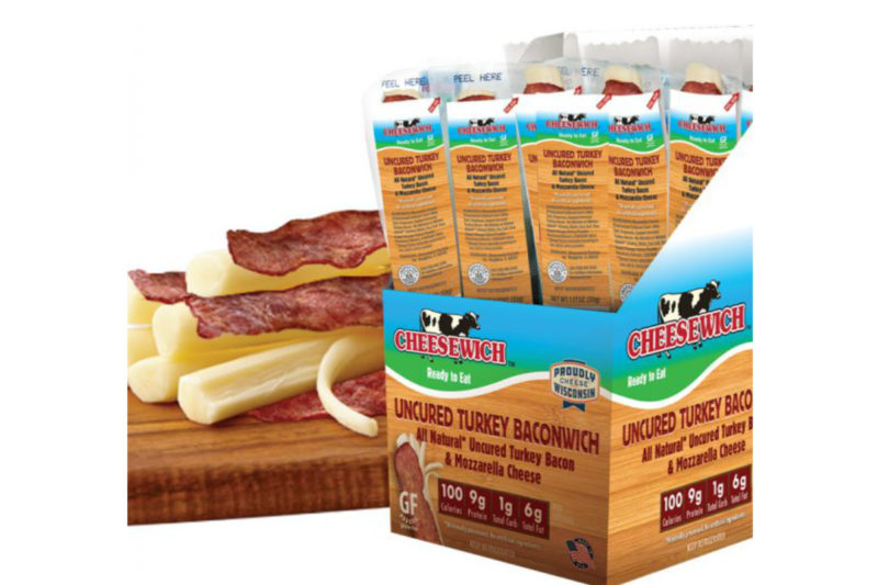 The Cheesewich Factory introduces Baconwich, a string of mozzarella accompanied by a slice of uncured turkey bacon. Each single-serve pack contains 100 calories, 6 grams of fat, 9 grams of protein and 0 grams of sugar, making the snack a keto-friendly food. The individual packs come in display-ready packs of 24, ideal for c-store refrigerated snack cases.