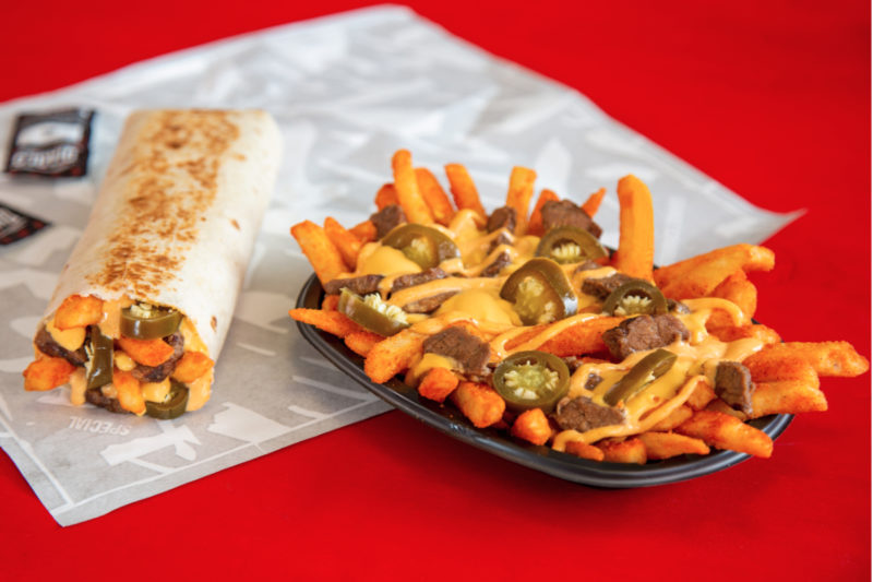 Taco Bell is taking its fry game to a fiery level with new Steak Rattlesnake Fries. Covered in a creamy jalapeño sauce and nacho cheese, the fries are topped with marinated steak and jalapeños. Customers may also order the fries as a burrito, wrapped in a warm flour tortilla.