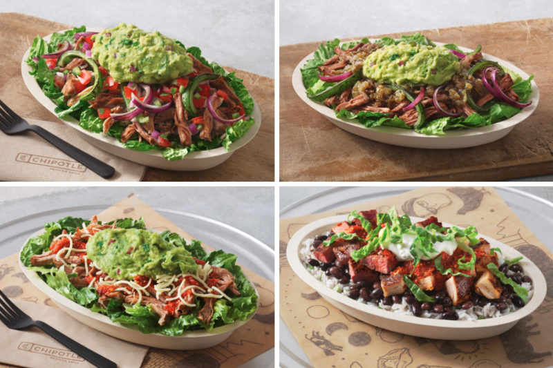 A new lineup of menu items at Chipotle Mexican Grill taps into popular diets. Lifestyle Bowls are available in four varieties: Whole30 Salad Bowl, featuring romaine lettuce, carnitas, fajita vegetables, tomato salsa and guacamole; Paleo Salad Bowl, with romaine lettuce, barbacoa, fajita vegetables, green salsa and guacamole; Keto Salad Bowl, with romaine lettuce, carnitas, red salsa, cheese and guacamole; and Double Protein Bowl, which has white rice, black beans, chicken, steak, red salsa, romaine lettuce and sour cream.
