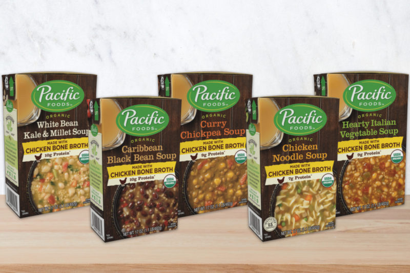 The Campbell Soup Co.'s Pacific Foods brand is offering a new line of organic soups made with the brand's organic chicken bone broth. Each soup contains 7 to 10 grams of protein from the broth and plant-based protein sources such as lentils, chickpeas and beans. All five varieties are U.S.D.A.-certified organic and free of genetically engineered ingredients, and all but the white bean kale and millet variety are dairy-free.