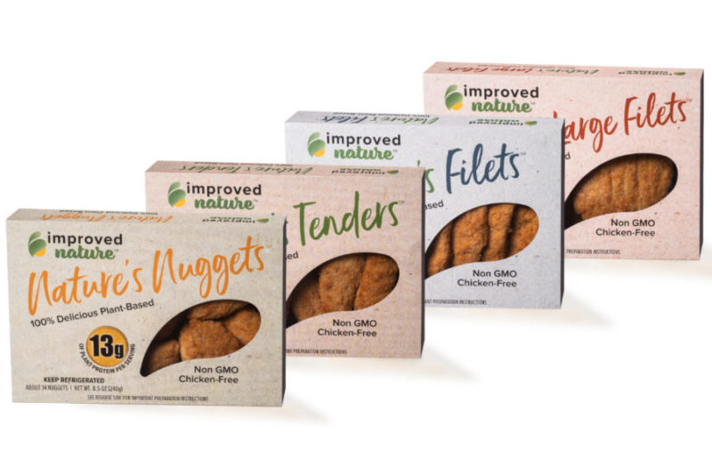 "Improved Nature, Garner, North Carolina., markets a range of easy-to-prepare, soy-based meat alternatives. Available in chunks, filets, nuggets, tenders, shreds and slices for private label and food service, the product comes in three forms. ""Simplest"" is soy and water formed into various shapes. It may be used to replace beef, chicken or pork in any recipe, according to the company. ""Simpler"" replicates the savory flavor of chicken and is recipe ready. ""Simplest"" is the quickest meal prep option. Just heat and serve."