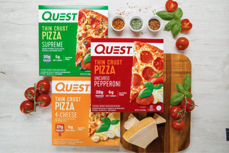 Gluten-free Quest Thin Crust Pizza from Quest Nutrition LLC, El Segundo, California, replaces the traditional grain-based crust with one made using a blend of dairy proteins (milk protein isolate and whey protein isolate) and fibers (cellulose, citrus and soluble corn). A half of the frozen pizza provides 27 to 30 grams of protein and 5 to 7 grams of net carbohydrates, depending on variety, of which there are three: four cheese, supreme and uncured pepperoni.