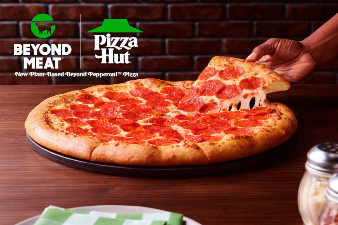 Beyond Pizza topped with plant-based pepperoni