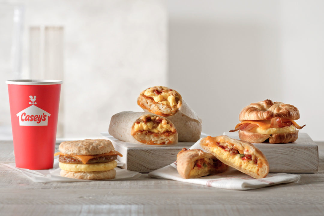 Selection of prepared breakfast items from Casey's General Stores