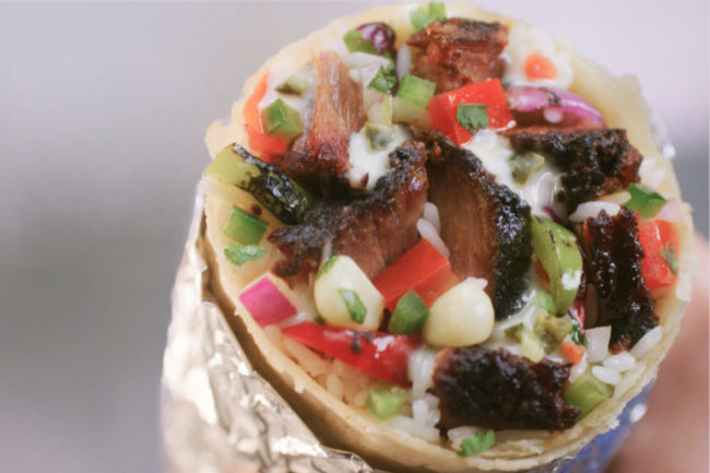 A Chipotle Mexican Grill burrito containing brisket pieces