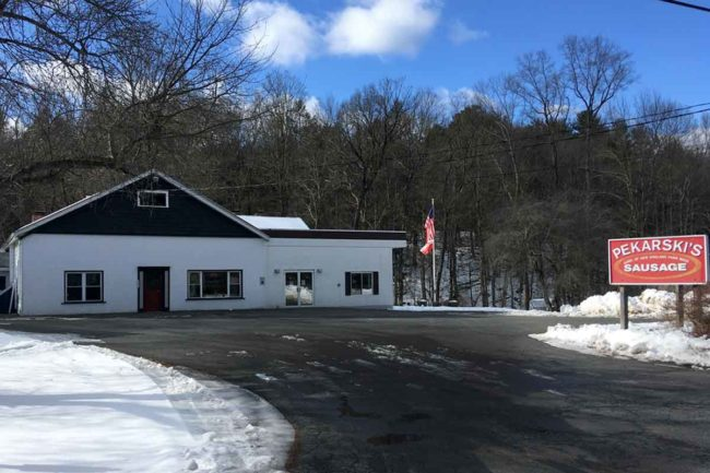 Pekarski's Sausage is located on a country road off Interstate 91 near South Deerfield, Massachusetts.