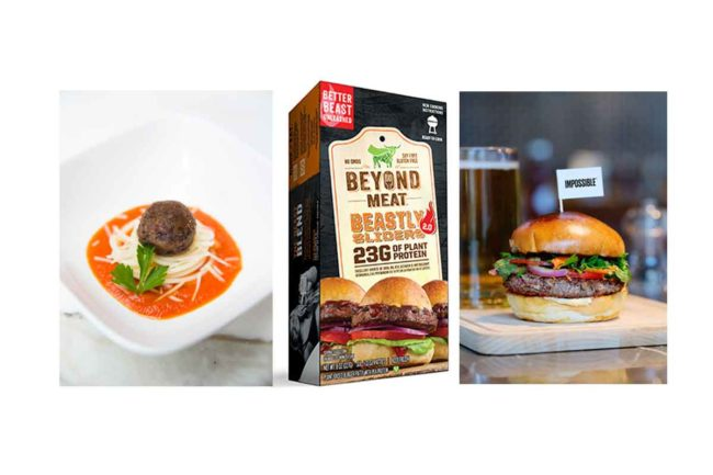 Memphis Meats meatball, Beyond Burger sliders and the Impossible Burger