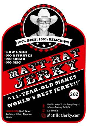 Matt-Hat Jerky label