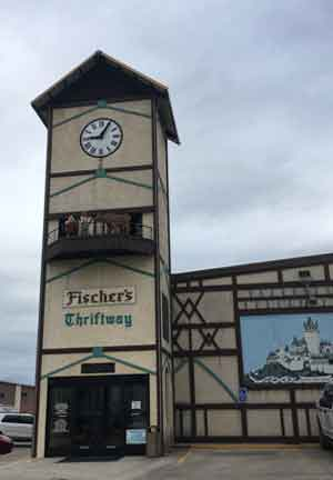 The glockenspiel at Fischer's Meat Market has been a tourist attraction since it was added in 1998.