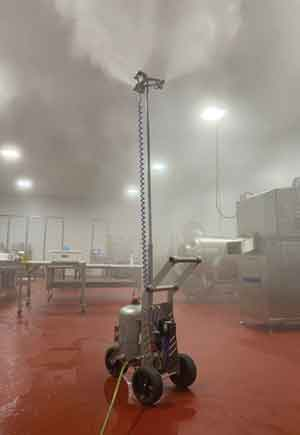 Fusion Tech has begun manufacture of a new portable fogging cart to allow decontaminating chemicals to mist large spaces.