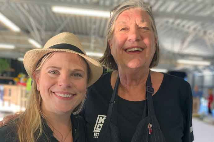 KCBS co-founder Carolyn Wells (right) was happy to pass the torch to Emily Detwiler in 2019