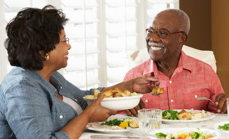 African-american-couple-eating-dinner