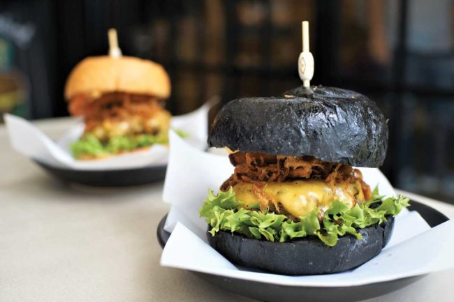 hamburger on a charcoal bun
