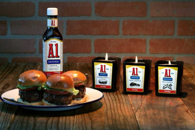 A.1., the company known for its grilling sauce, unveiled its A.1. Meat Scented Candles.
