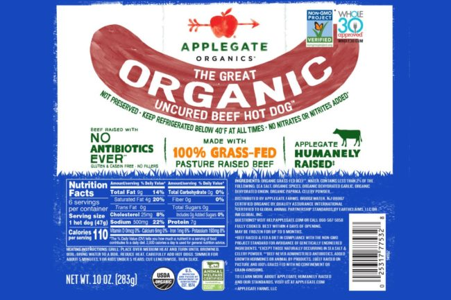 Applegate beef hot dog