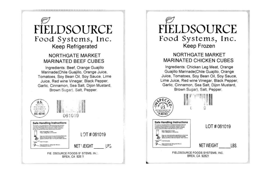 Fieldsource Food Systems Inc. of Brea, California, recalled diced beef and chicken products due to undeclared wheat.