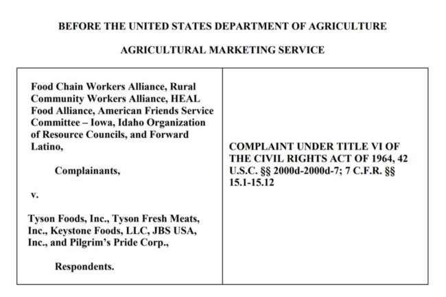 Worker advocacy groups allege meat processors discriminated against minority frontline meat plant employees.