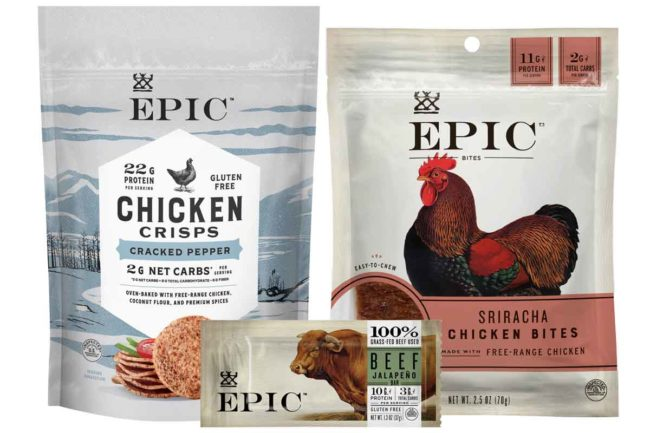 Epic Provisions has new products in formats that include bars, crisps and bites.