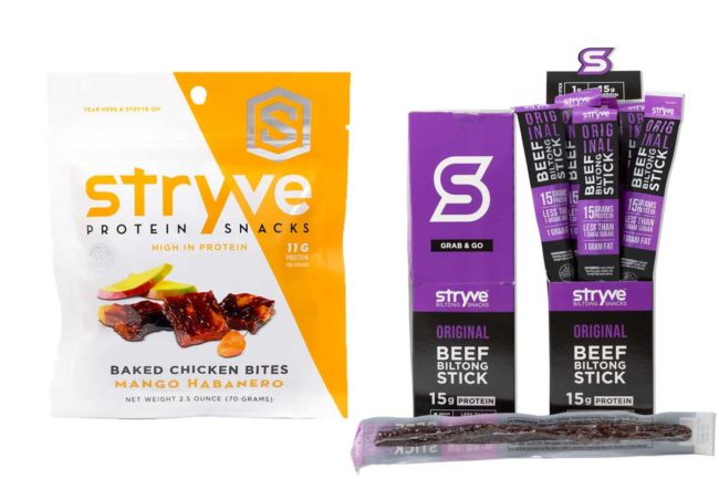 Stryve Foods makes chicken, turkey, beef and biltong bites and sticks.