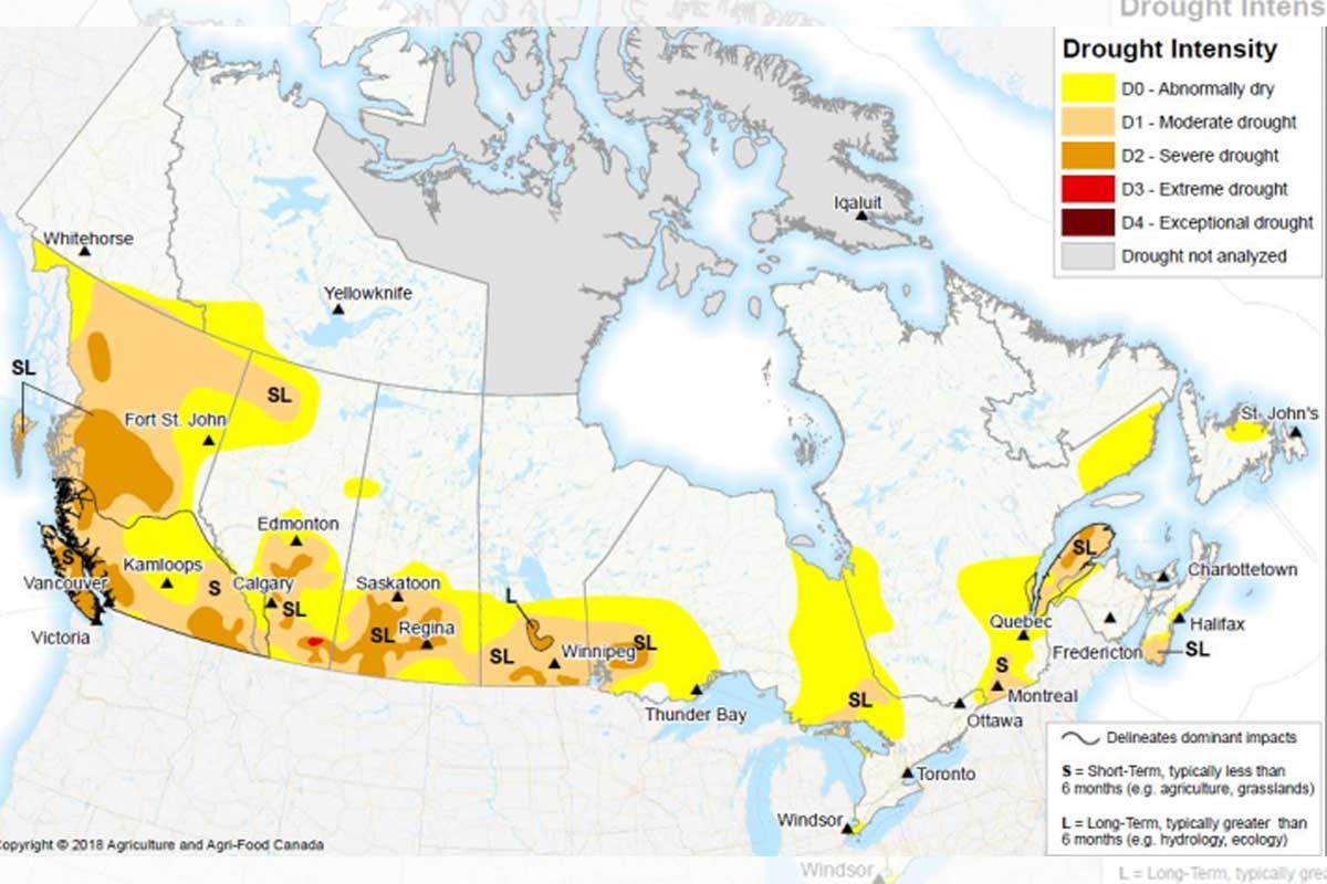 Map showing regions in Canada hurt by drought.