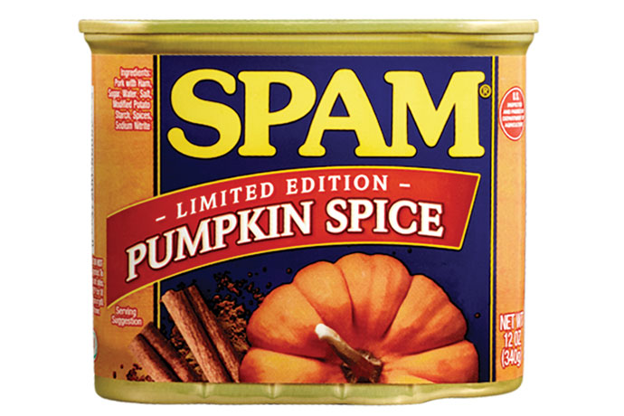 Pumpkin Spice SPAM joins the list of 15 other varieties of SPAM.