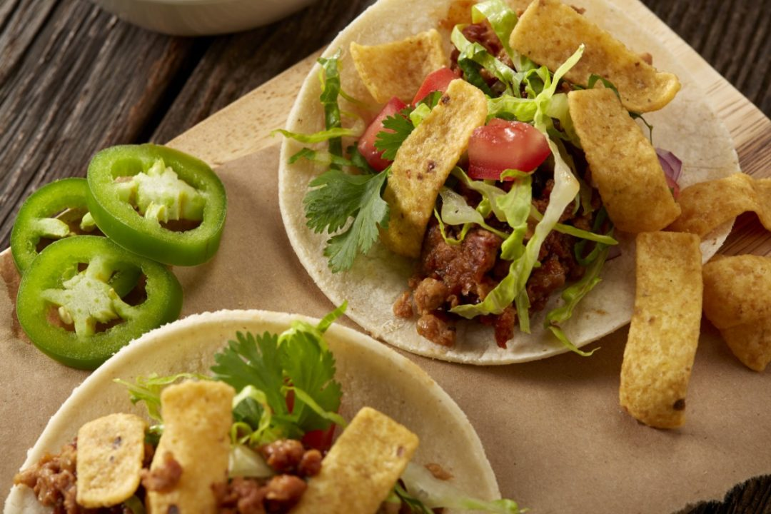 Famous Daves beyond meat tacos