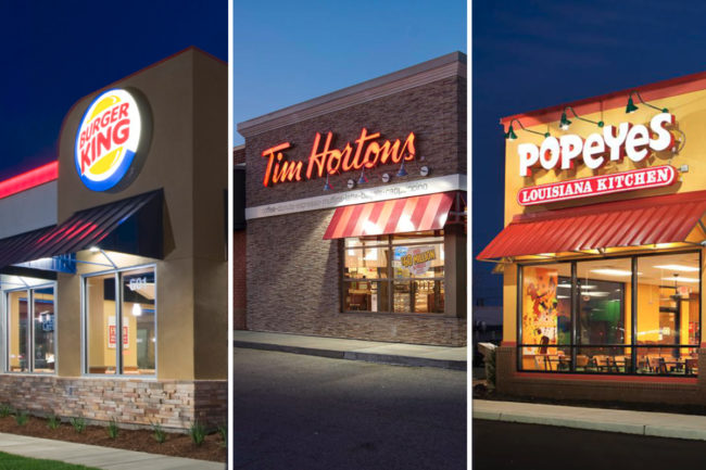 Burger King, Tim Hortons and Popeyes store fronts
