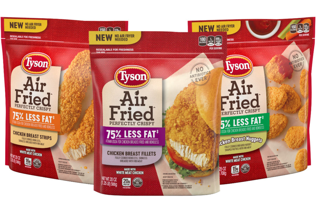 Tyson's new air fried chicken products are cooked using circulated hot air with a touch of oil to achieve a fried-like product and texture.