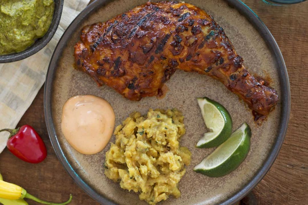 Peruvian chicken with chile sauce and spiced mashed plantains