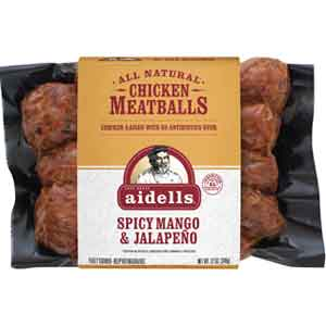 Aidells uses inclusions to add layers of flavors to its products such as these spicy mango and jalapeno chicken meatballs.