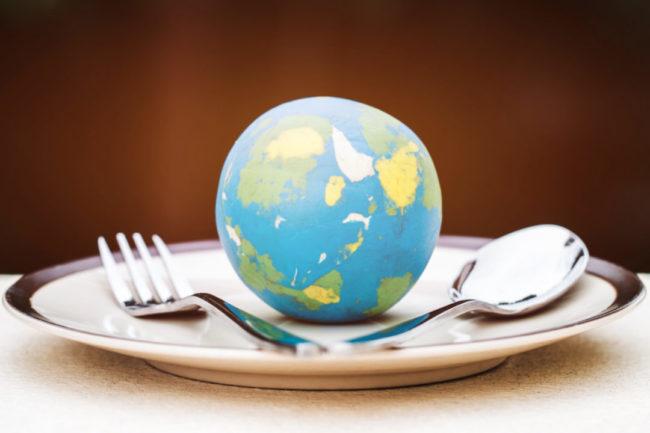 globe on plate