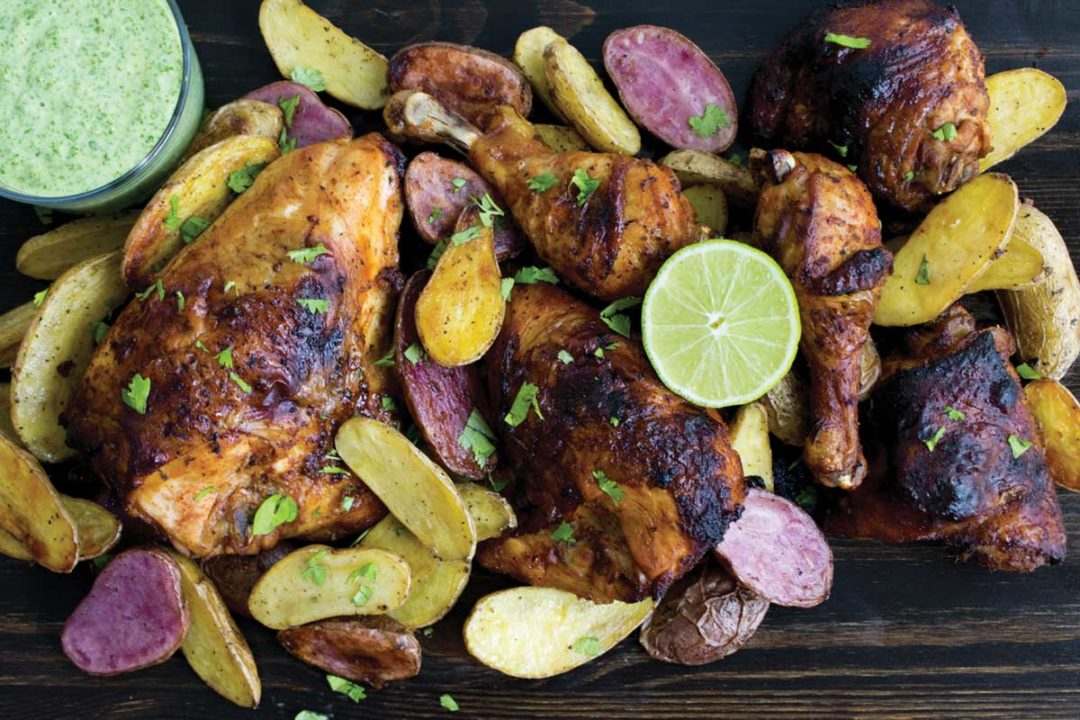 Plate of grilled tequila lime chicken and fingerling potatoes