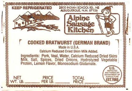 Alpine Sausage Kitchen product label for Bratwurst