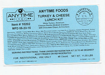 Anytime Foods lunch kit label