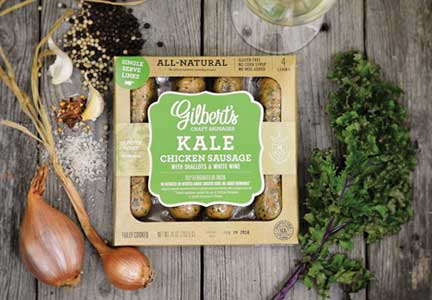 Gilbert's Craft Sausages kale and chicken franks
