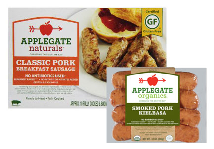 Applegate Naturals breakfast sausage and pork kielbasa
