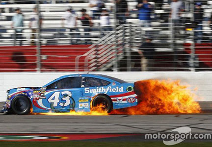Aric Almirola, driving the Richard Petty Motorsports car No. 43, was caught up in a four-car crash during NASCAR's Folds of Honor QuikTrip 500.