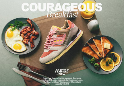 The Bacon & Eggs Courageous sneakers are a collaboration between Feature and athletic shoe manufacturer Saucony.
