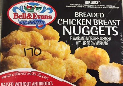 Murry's Inc. is recalling its Bell & Evans brand breaded chicken breast nuggets.